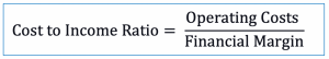 Cost to income ratio formula for bank