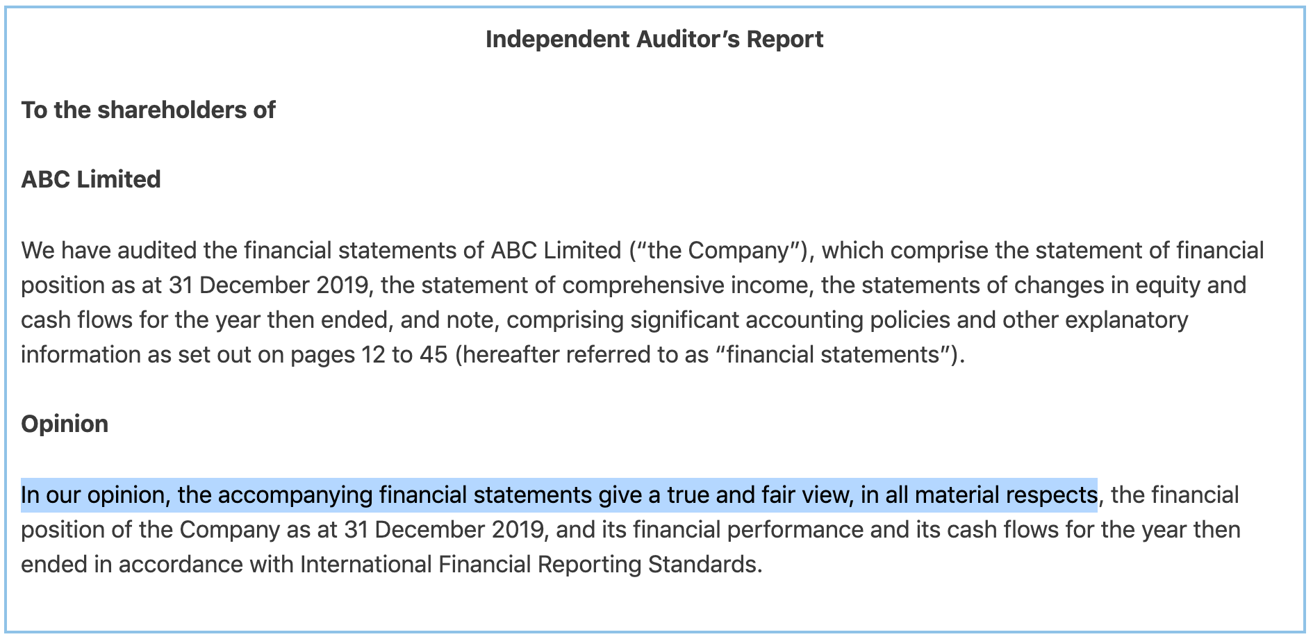 Unqualified audit report example